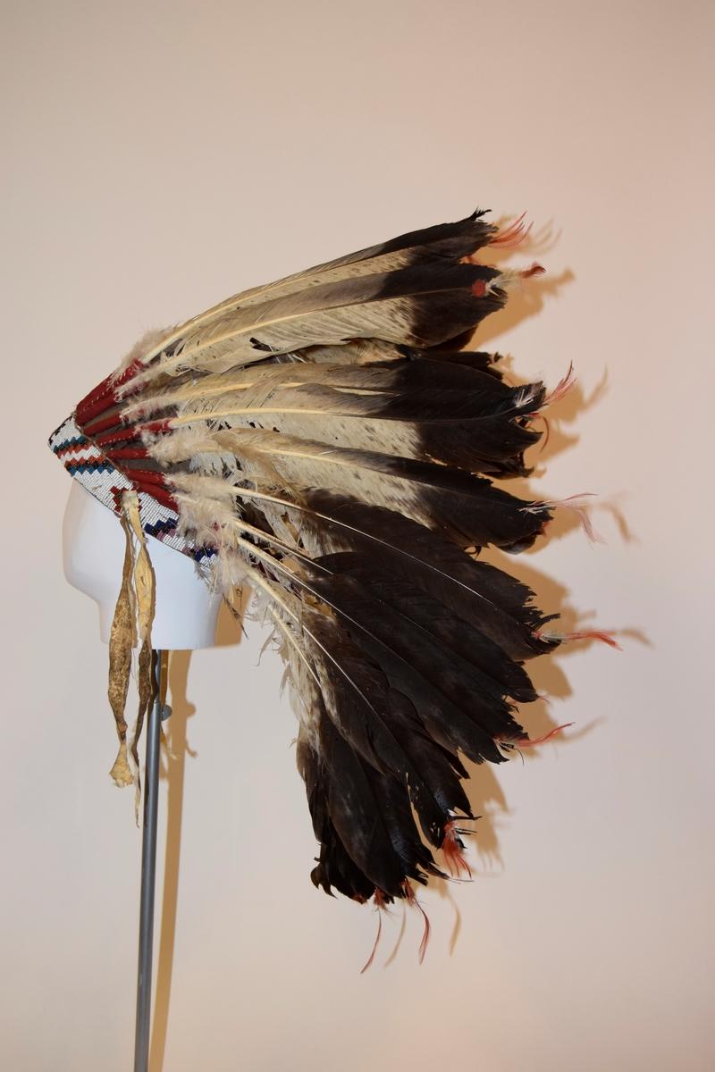 """Fjærpryd med 32 fjær og innvendig """"hatt"""" av hud. Bånd med perlebroderi rundt hodet. Tre slitte skinnbånd henger ned fra sidene, ett er sannsynligvis falt  av. Fjærene har rødt stoff rundt nedre del og er festet til hodebåndet, grå/ hvitt midtparti, brunsort øverst og små orange fjær festet i toppen. Perlebroderiet på hodebåndet har hvit bunn, mønster i rødt, sort, brunt, blått, rosa, orange og grønt. Hulda Garborg besøkte en indianerleir i 29.06.1913 i forbindelse medreisen til avdukingen av statuen av Ivar Aasen i USA. Denne hodepryden og bjørneskinnsfellen fikk hun i gave av høvdingen for den indianerstammen hun besøkte."""
