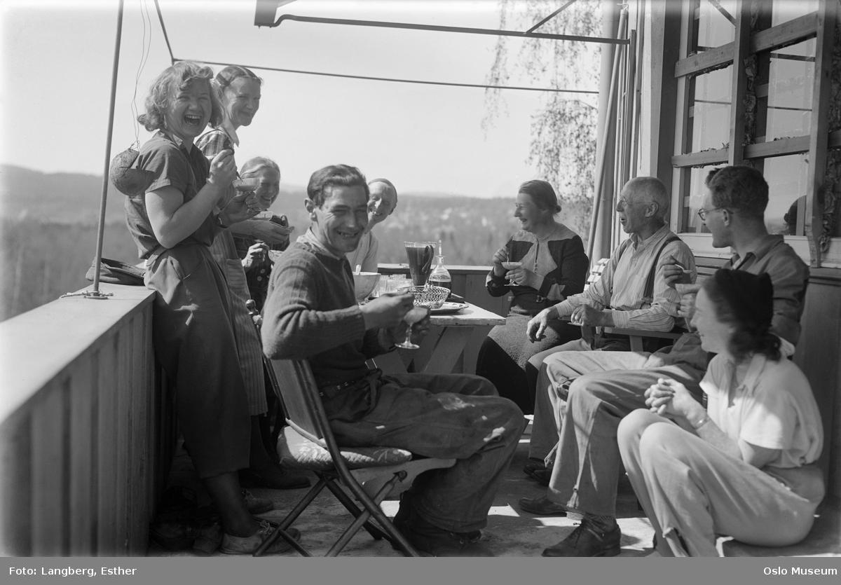 veranda, menn, kvinner, måltid