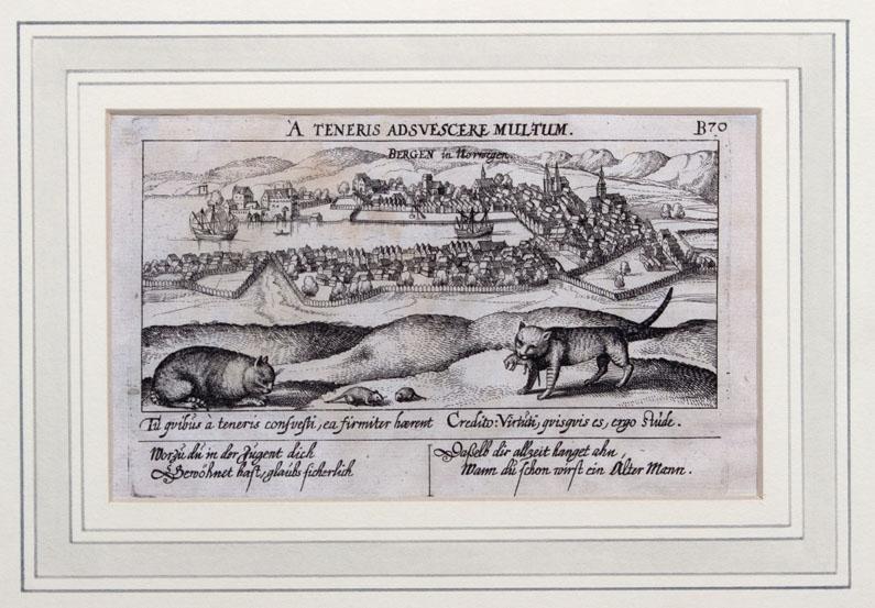 Kobberstikk av BERGEN i Norge fra 1642. Ser byen og Vågen omkranset med fjell samt to katter som leker/fanger rotter.