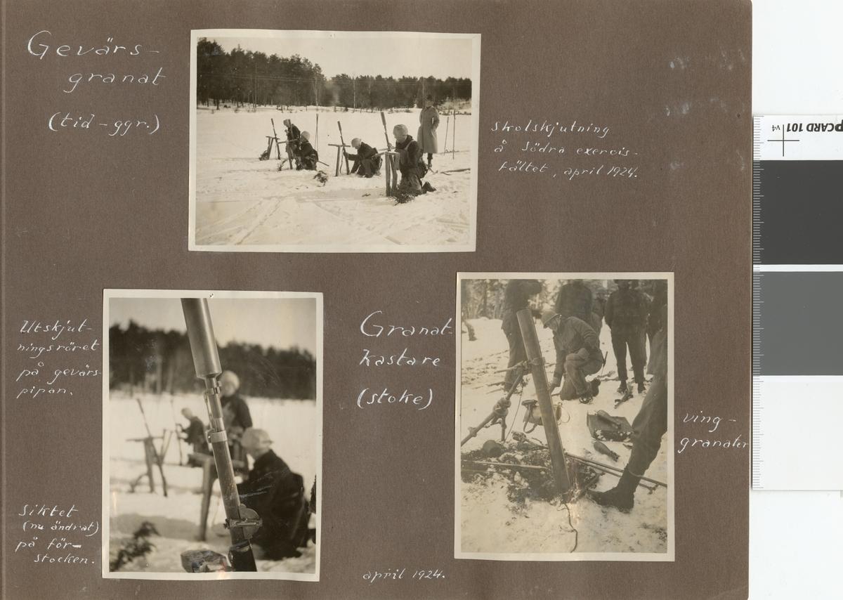 Stormsoldatskolan våren 1924. Granatkastare.
