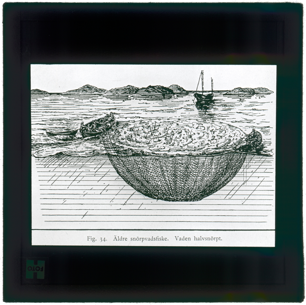 """Text på skioptikonplåten: """"Fig. 34. Äldre snörpvadsfiske. Vaden halvsnörpt."""""""