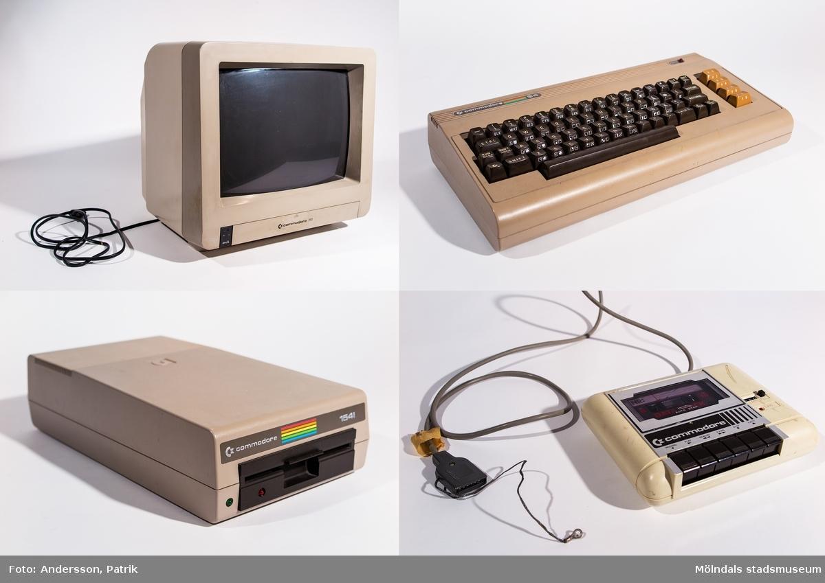 Commodore 64 dator i tre delar.Dator med diskettstation Commodore 1541. Mått: 195 mm x 355 mm.Tangentbord C 64. Mått: 400 mm x 200 mm.Skrivare Commodore MPS 802,. Mått: 330 mm x 390 mm, 420 mm med ratt.Givaren köpte datorn begagnad, komplett med all utrustning av en privatperson i Västerås genom Försvarets Motorklubbs tidning 1995.Han använde den främst till ordbehandling, men spelade och programmerade också lite grann på den. Den bör vara i fungerande skick fortfarande (2002-12-11).Ett Nintendospel är också skänkt av Berne och inköpt i slutet av 1980-talet.Till C 64 finns manualer, disketter m.m. material.