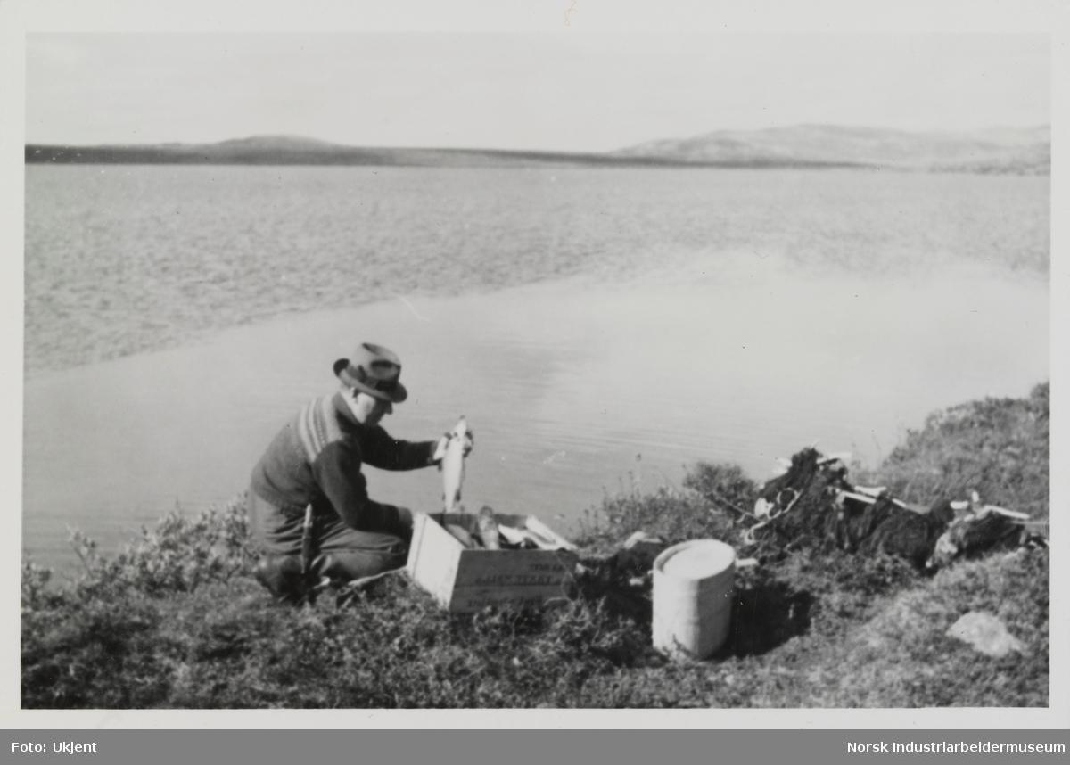 Mann sitter på huk ved innsjø i fjellet og holder en fisk. Ved siden av mannen ligger garn og en trekasse med fisk