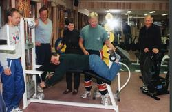 Åpning av treningssenter på klubbhuset Hallingmo. Frå v.Roge