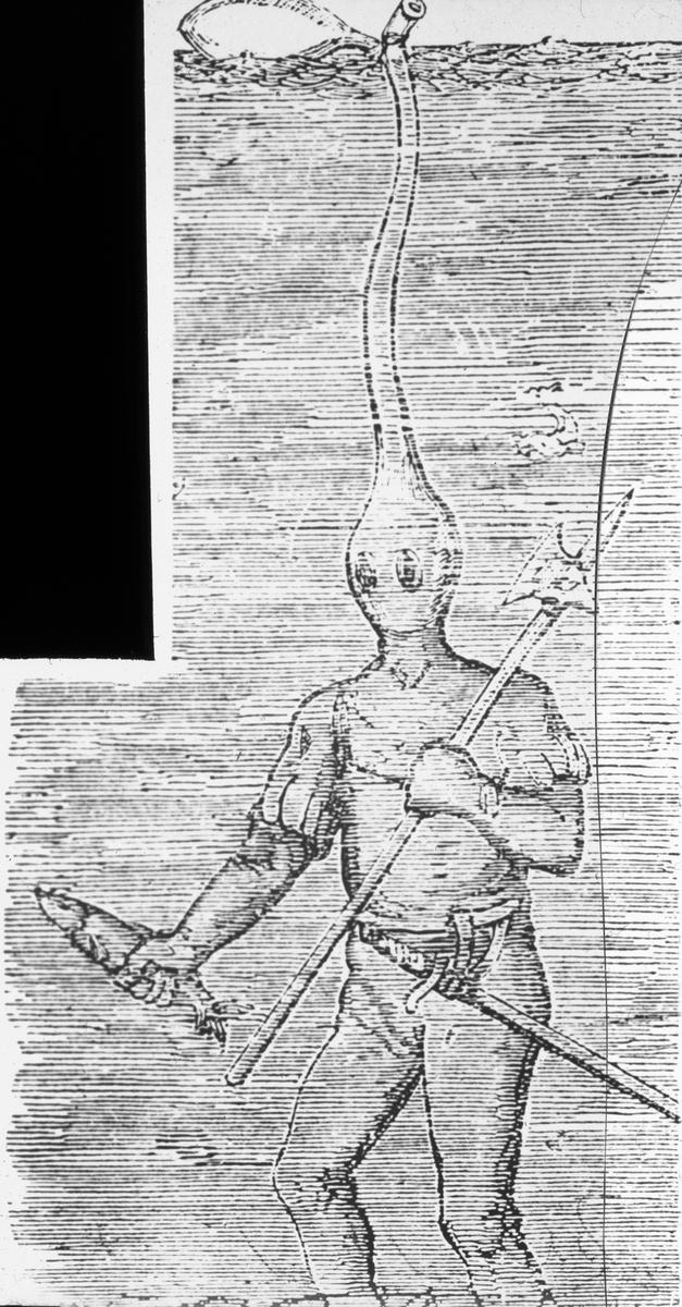 Avfotografert trykk som viser tegning av dykker i dykkerdrakt med oksygentilførsel, ca 1700-1800- tallet.