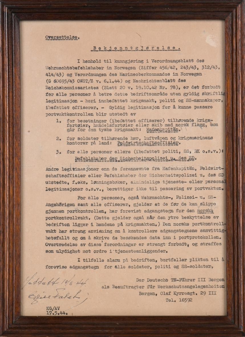 Plakat. Kunngjøring i glass og ramme utstett av Der Deutsche TN-Führer III i Bergen 17.5.1944.