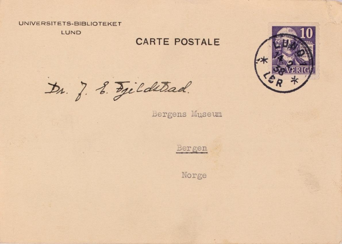 Takkekort-samling vedr. polarskipet MAUD. Takkekort fra Universitets-biblioteket i Lund, Sverige  (med frimerke) i forbindelse med at de har mottatt publikasjon vedr. MAUD sin polekspedisjon i 1918-1925.