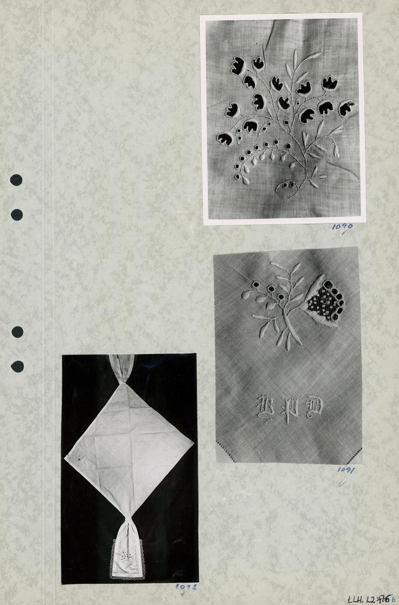 Kartongark med tre foton av klut.