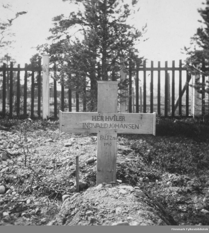 En soldats grav;  Ingvald Johansen er stedt til hvile. Han mistet livet etter å ha gått på ei mine 2. november 1945, antakelig under minerydding etter 2.verdenskrig. Bosekopp kirkegård. Familiealbum tilhørende familien Klemetsen. Utlånt av Trygve Klemetsen. Periode: 1930-1960.
