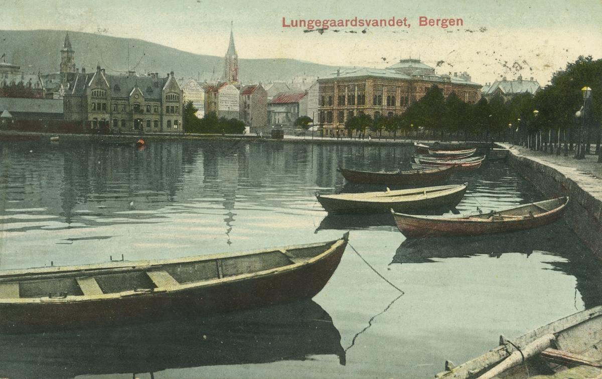 Bergen. Fra Lille Lungegårdsvann. Utgiver: Mittet & Co, før 1909.