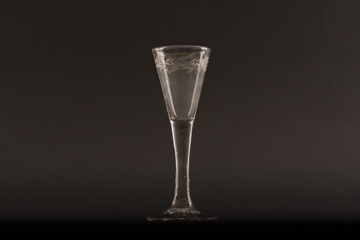 Brännvinsglas på rund fot av ofärgat glas. Kupan är koniskt formad och dekorerad med en ingraverad växtranka under mynningen.