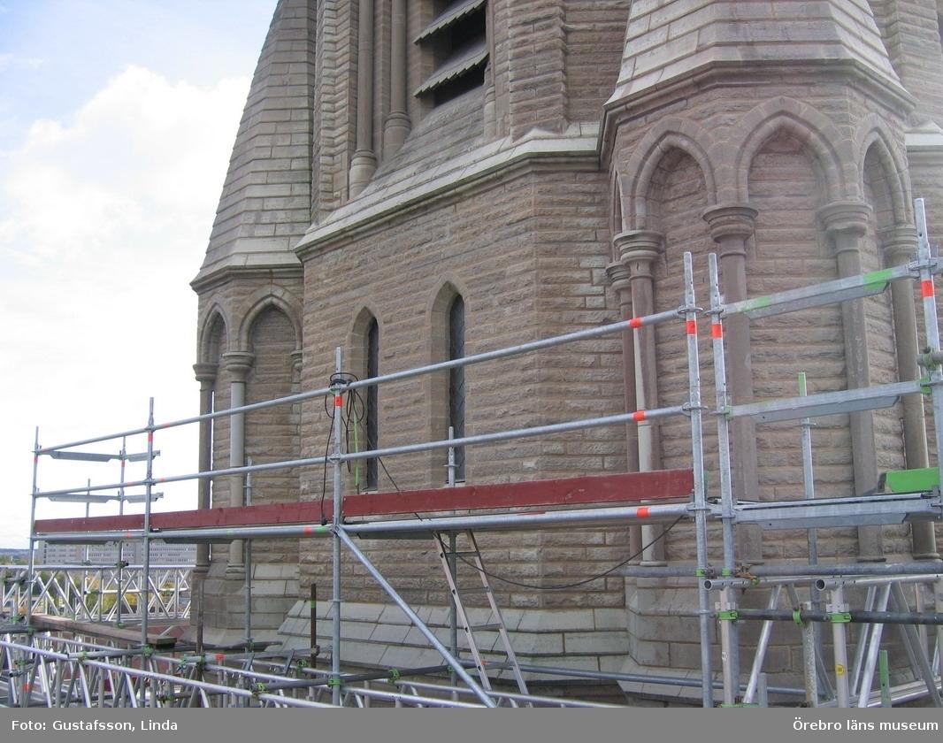 Renoveringsarbeten av tornfasader på Olaus Petri kyrka (Olaus Petri församling).Nedre delen av östra tornet, efter åtgärder.Dnr: 2008.230.065