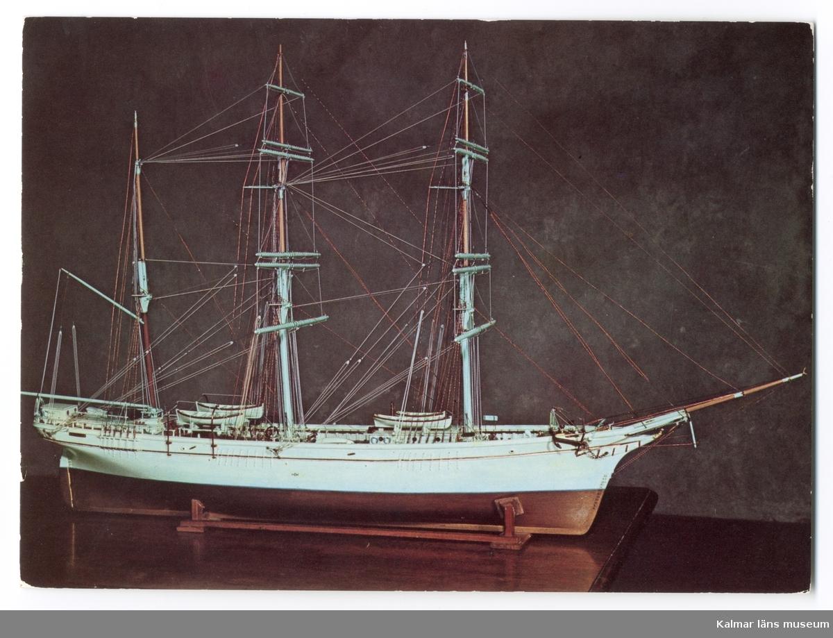 Barkskeppet Cimba. 1800-talets senare del. Detaljriktig modell byggd av T. Bech, Köpenhamn.