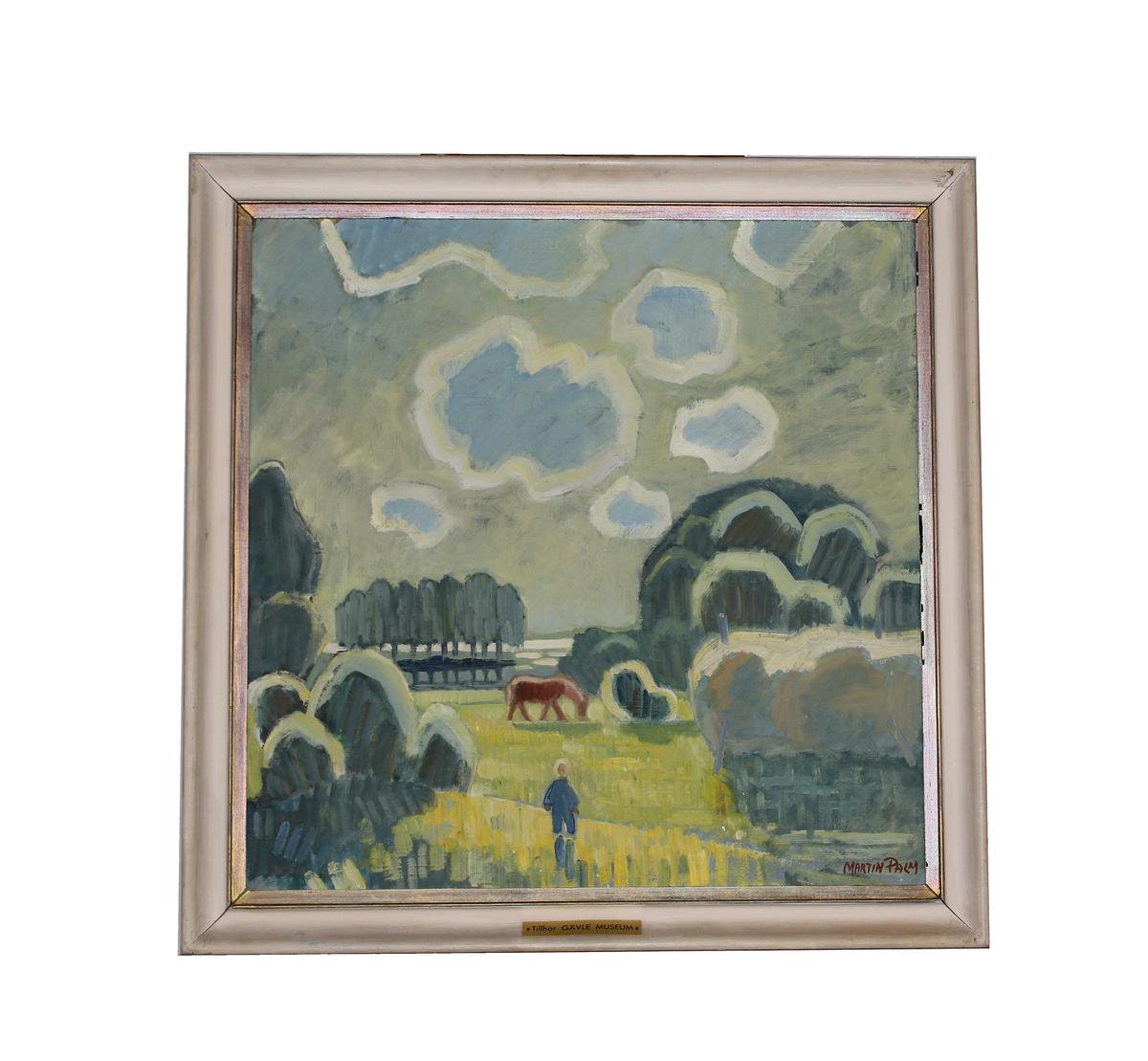 """Oljemålning, """"Landskap"""" signerad Martin Palm. Målad 1939."""