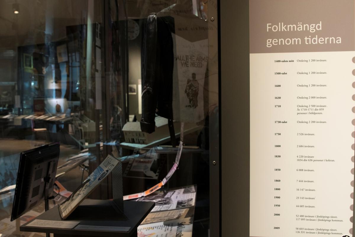 Stadshistoriska utställningen i arkivhuset. Folkmängd genom tiderna i Jönköping. Från 1400-talets mitt till 2009.