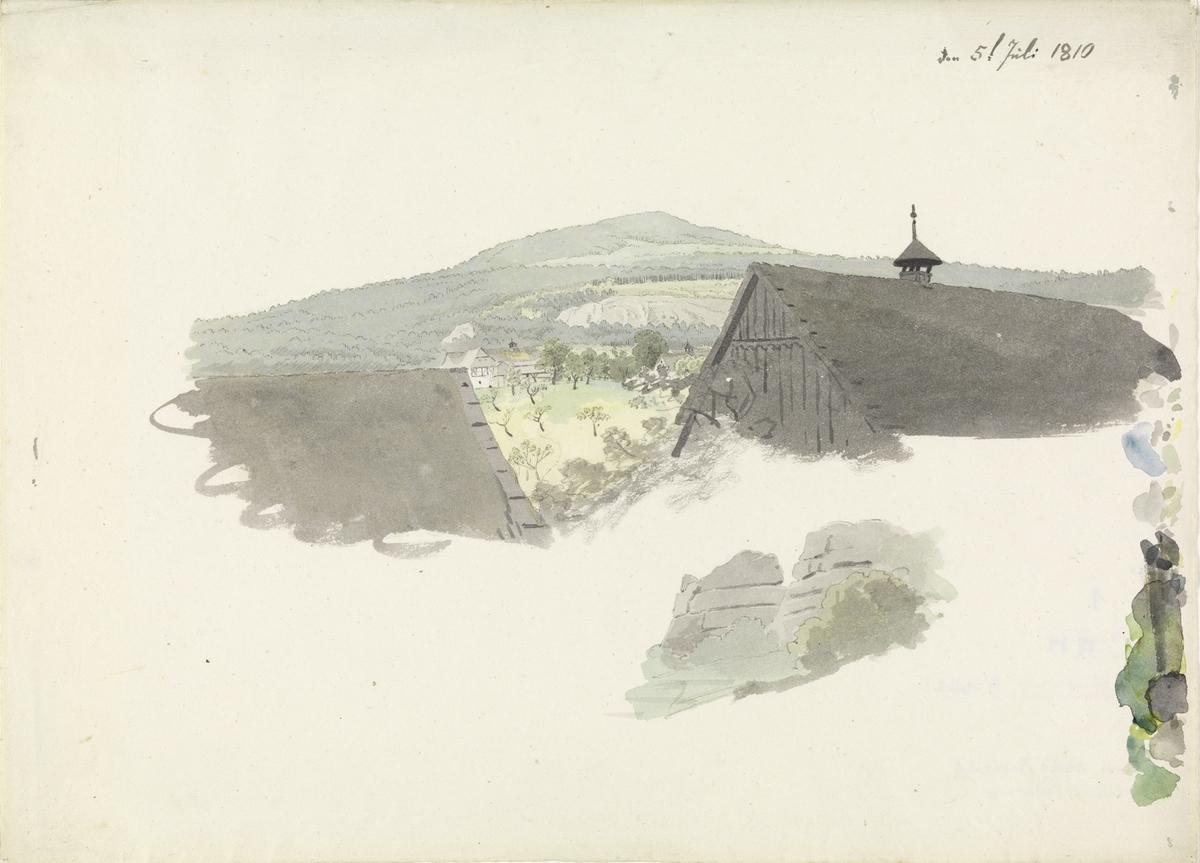 Fjellet Hochwald sett fra Oybin [Tegning]