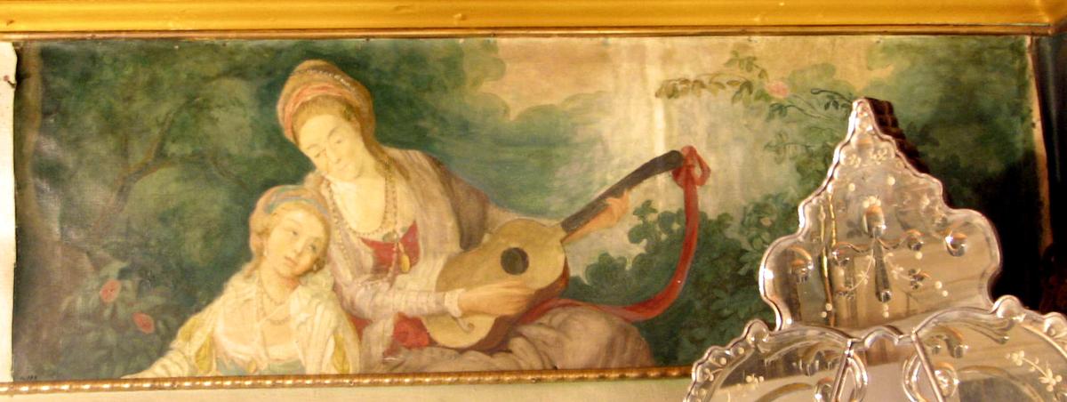 2 figurscener i landskap,polykrome, halvfigurer: A: 2 kvinner, den ene med gitar; B: mann og kvinne