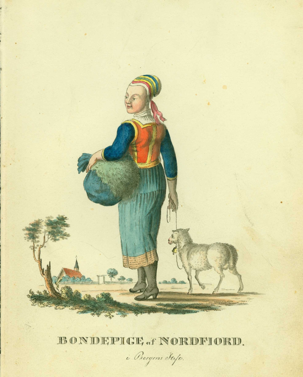 Bondekvinne i folkedrakt fra Nordfjord, Sogn og Fjordane, med en tøysekk under venstre arm og en sau med bjelle i bånd i høyre hånd. I bakgrunnen kirke.