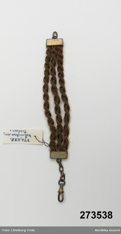 Tillv. av fru Anna Sparr f.1894, Våmhus, Dalarna. Hon arbetade bl.a i Stockholm med hårarbeten.
