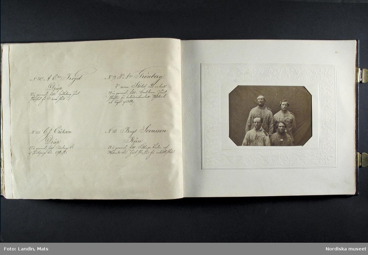 """""""Photografiskt Album för år 1861 öfver fångar förvarade å Malmö Straff och Arbetsfängelse"""".  Album med porträtt av fångar med tillhörande kommentarer om brotten de dömts för.  I några fall har även gjorts noteringar om  """"karaktärsdrag"""", utseende eller vissa biografiska data. Både män och kvinnor förekommer på bilderna.   Albumet är reprofotograferat kronologiskt sida för sida från pärm till sista blad. Album från Nordiska museets arkiv. Fångalbum."""
