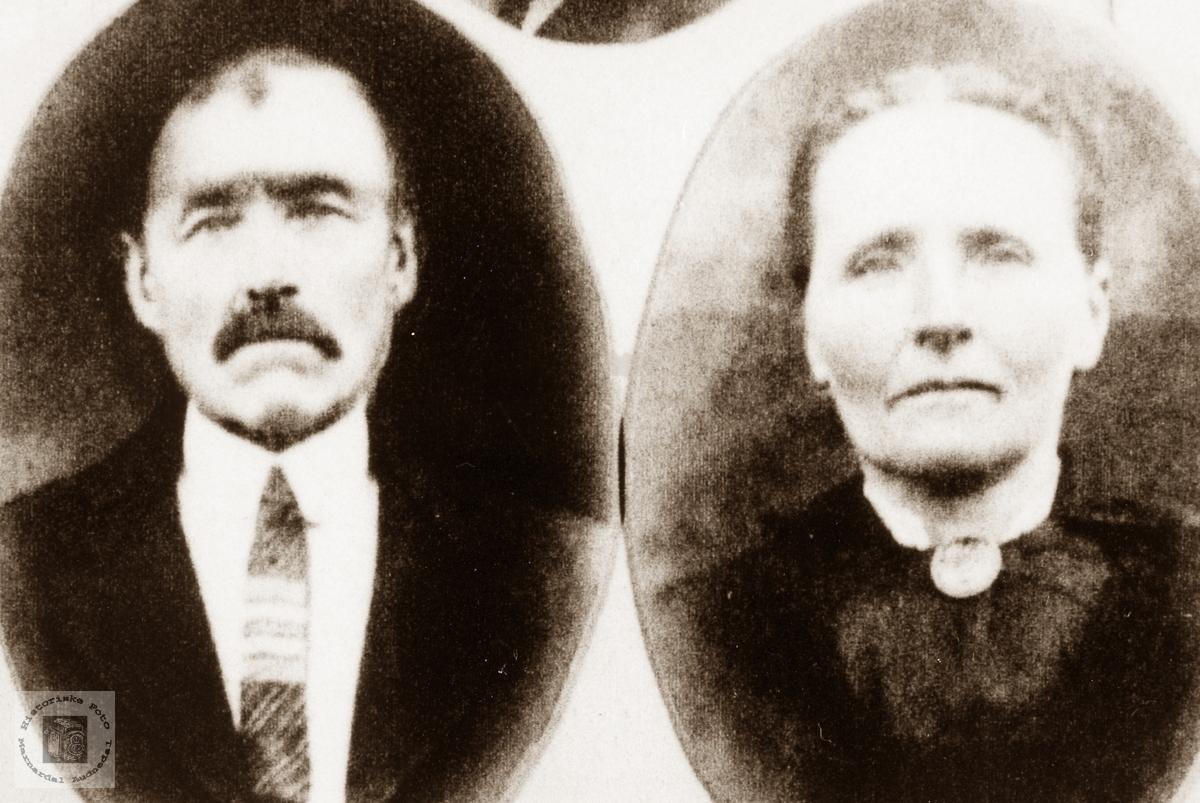 Portrett av ekteparet Ole og Josefine Vårdal. Grindheim Eiken.