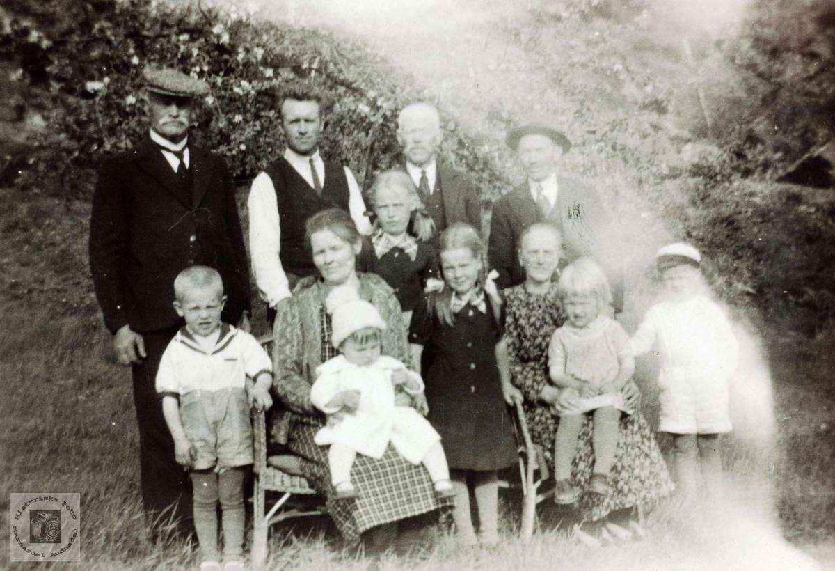 Familiebilde fra familien Flåt, Vårdal i Grindheim. Personene på bildet, bak f.v.: 1. G.S.Øydne, 2. Andreas Imeland f.1900, 3. Tobias Flaat, 4. Ukjent Foran f.v. 1. Tormod Imeland, f. 1933, 2. Guri (Flaat) Imeland,f.1895, 3. På fanget: Gunhild (Imeland) Thorsen f. 1937, 4. Torine (Imeland) Olsen, f.1928, 5. Randi (Imeland) Gismarvik f.1930, 6. Randi Flaat (usikker) 7. På fanget: Ragnhild Imeland, f. 1935 , 8. Ola Imeland f. 1931.  Bildet er sannsynligvis tatt våren/sommeren 1939.