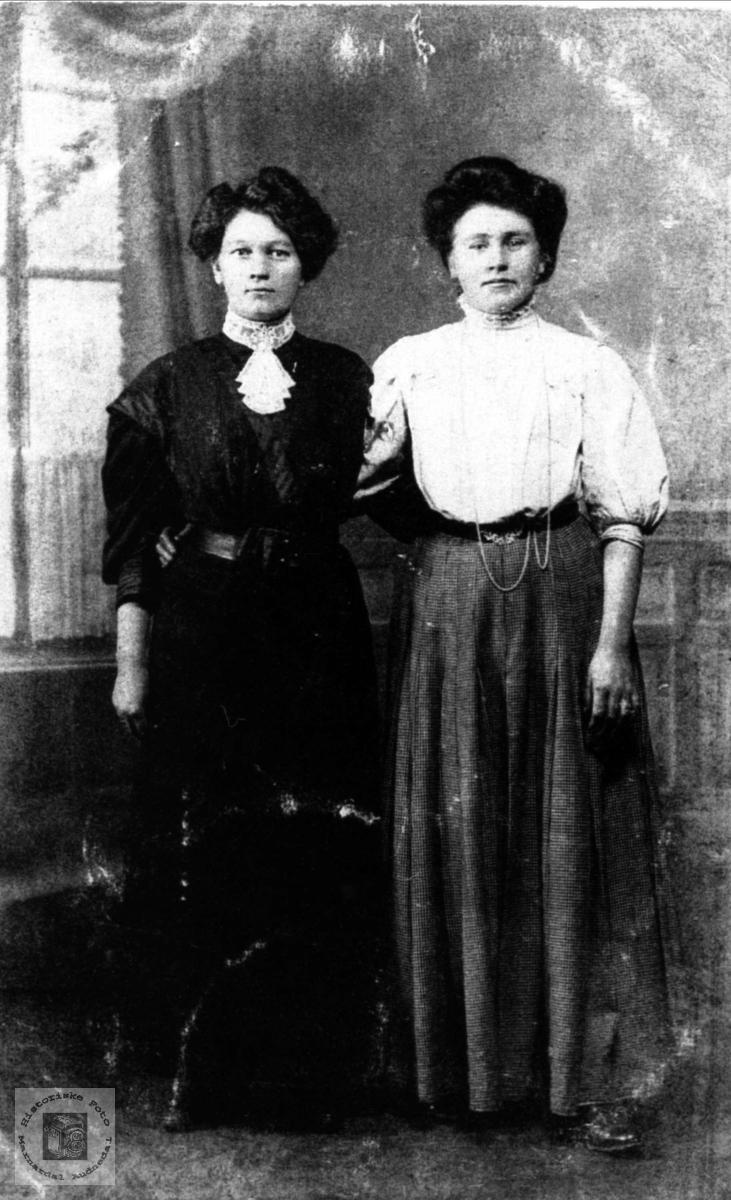 Søsterportrett av Anne Thomine og Dorthea Torkildsdtr. Hjemlestad, Bjelland.