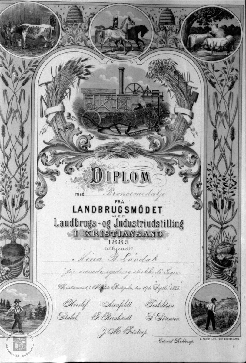Diplom til Mina Laudal.