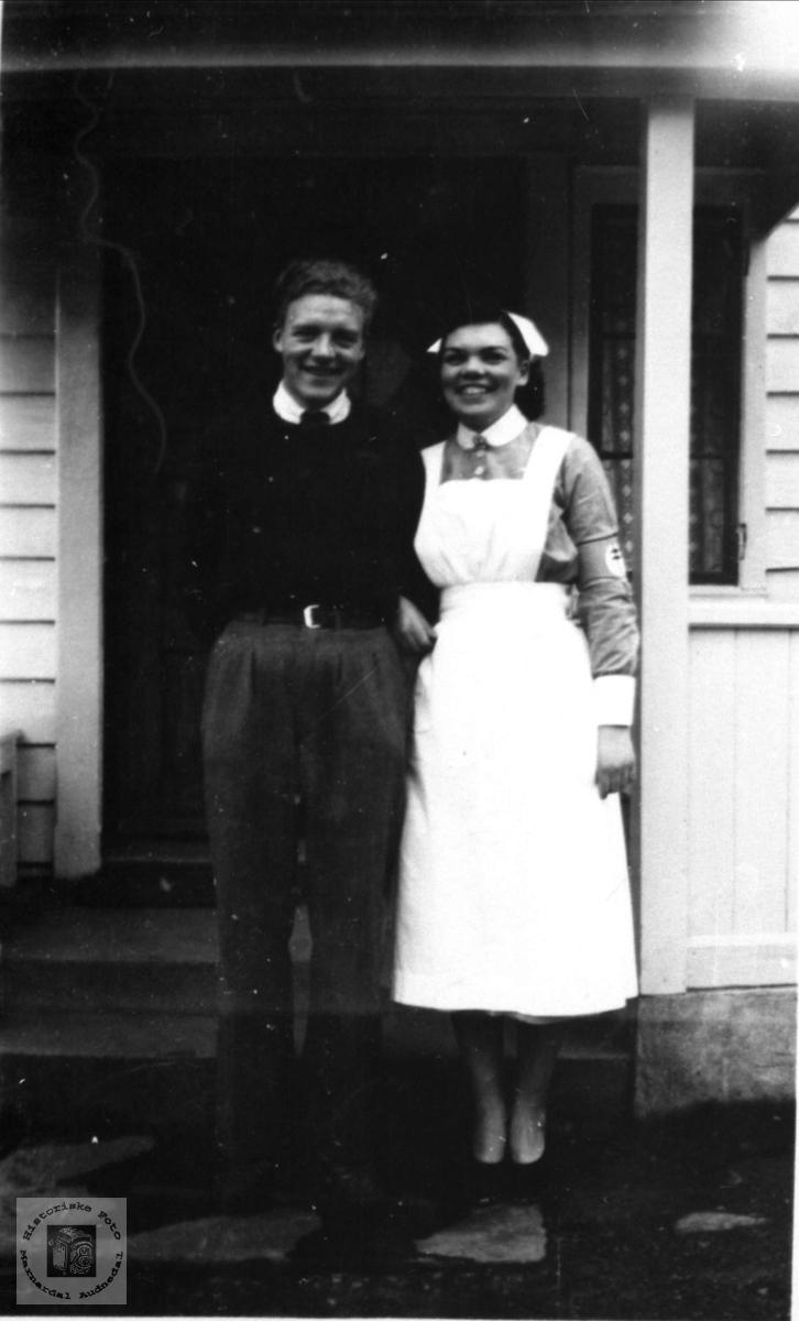 Søsknene Olav og Kristine Nome, Øyslebø.