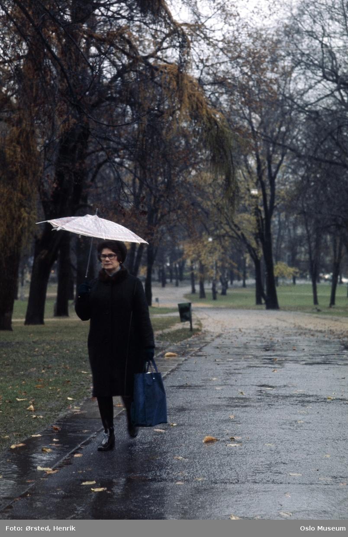 park, gangvei, kvinne, paraply, regnvær