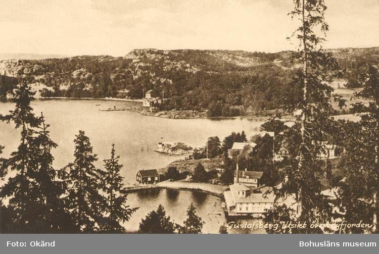 """Tryckt text på kortet: """"Gustafsberg, Utsikt över Byfjorden."""" """"Förlag: J. F.Hallmans Bokhandel, Uddevalla."""""""