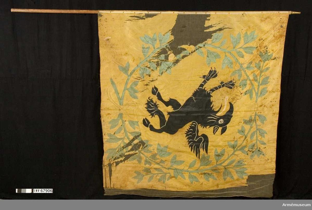 Kompanifana vid Södermanlands regemente. Förfärdigad 1717 och utbytt 1730. Duk av enkel gul sidentaft. Sydd av två horisontella våder á 880 mm. Dekor broderad på dukens utsida, Södermanlands sköldemärke, en grip i svart intarsia omgiven av två lagerkvistar av gröna blad med gula bär broderade, nedtill hopknuten med ett gult broderat band. Stång av furu. Avsågad. Holk av mässing. Saknar spets. Duken söndersliten i ytterkanten. Anm: Gripens svarta färg ovanligt välbevarad. Vid restaurering ersatt med nytt. Motivet något förskjutet.