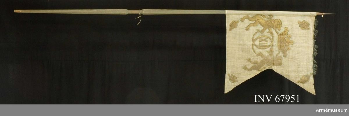 Dragonfana med Karl XII:s namnchiffer.  Duk: Tillverkad av enkel vit (?) linnelärft. Duken fäst vid stången med en rad tennlikor. Bandet omöjligt att se.  Dekor:  Målad Karl XII:s krönta namnchiffer med öppen krona i guld hålles av två ensvansade lejon i guld. I hörnen öppna kronor i guld. Upptill rester av blå frans.   Stång av gråblåmålat trä. Kanellerad. Holk och spets lansettformade av järn.