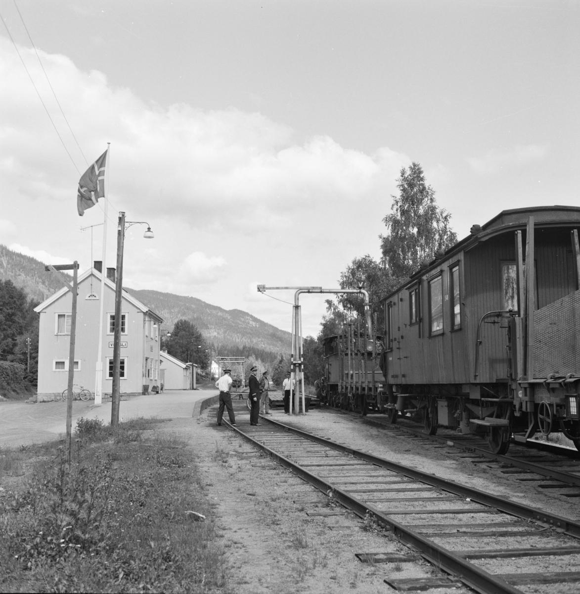 Godstog 5397 på Veggli stasjon. Vannfylling på damplokomotiv 21e 207.