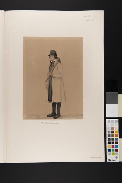 """""""Dalarna, Nås sn"""" Man  i vit rock med yxa. Akvarell P. Södermark 1850."""