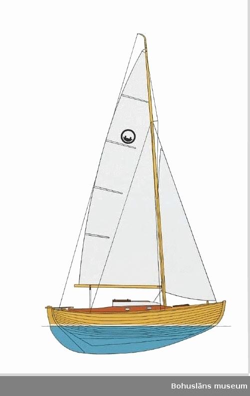 K:6 44 TEJST  Löa: 6.1 m (20 fot)  Längd vl: 5.64 m  Bredd: 2.25 m  Djup: 1.03 m 18 kvm segelyta.