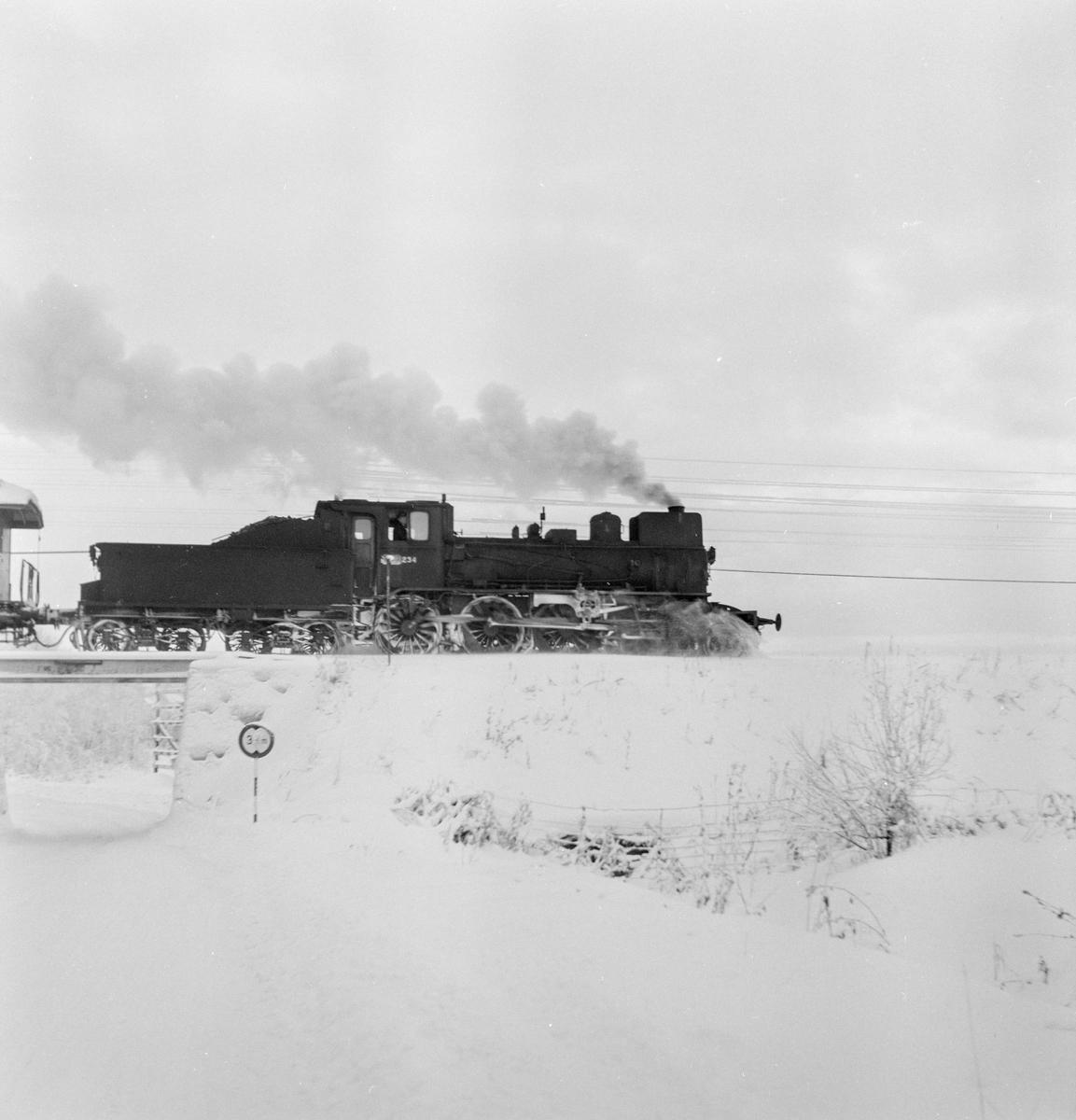 Godstog på Solørbanen trukket av damplokomotiv 27a nr. 234 .
