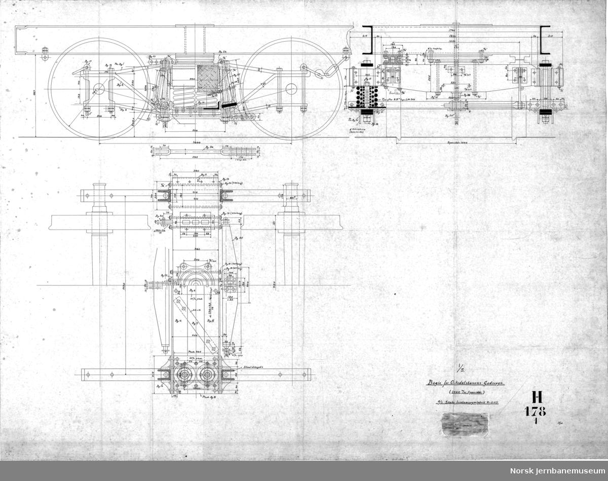 Bogie-stakevogn for Orkedalsbanen, lasteevne 22 tons, 100o m/m sporvidde  H178 Hovedtegning H178-1 Boggi