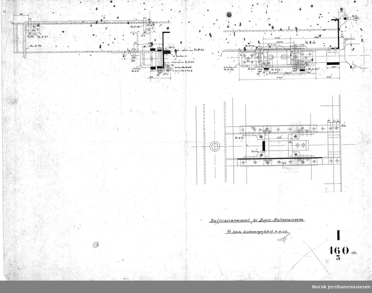 Bogie-malmgrusvogne for Dunderland Iron Ore Company  I160-1 Bogie I160-2 Understilling I160-3 Bufferarrangement I160-4 Vognkasse I160-4A Vognkasse I160-5 Lukestengsel I160-6 Bræmseanordning