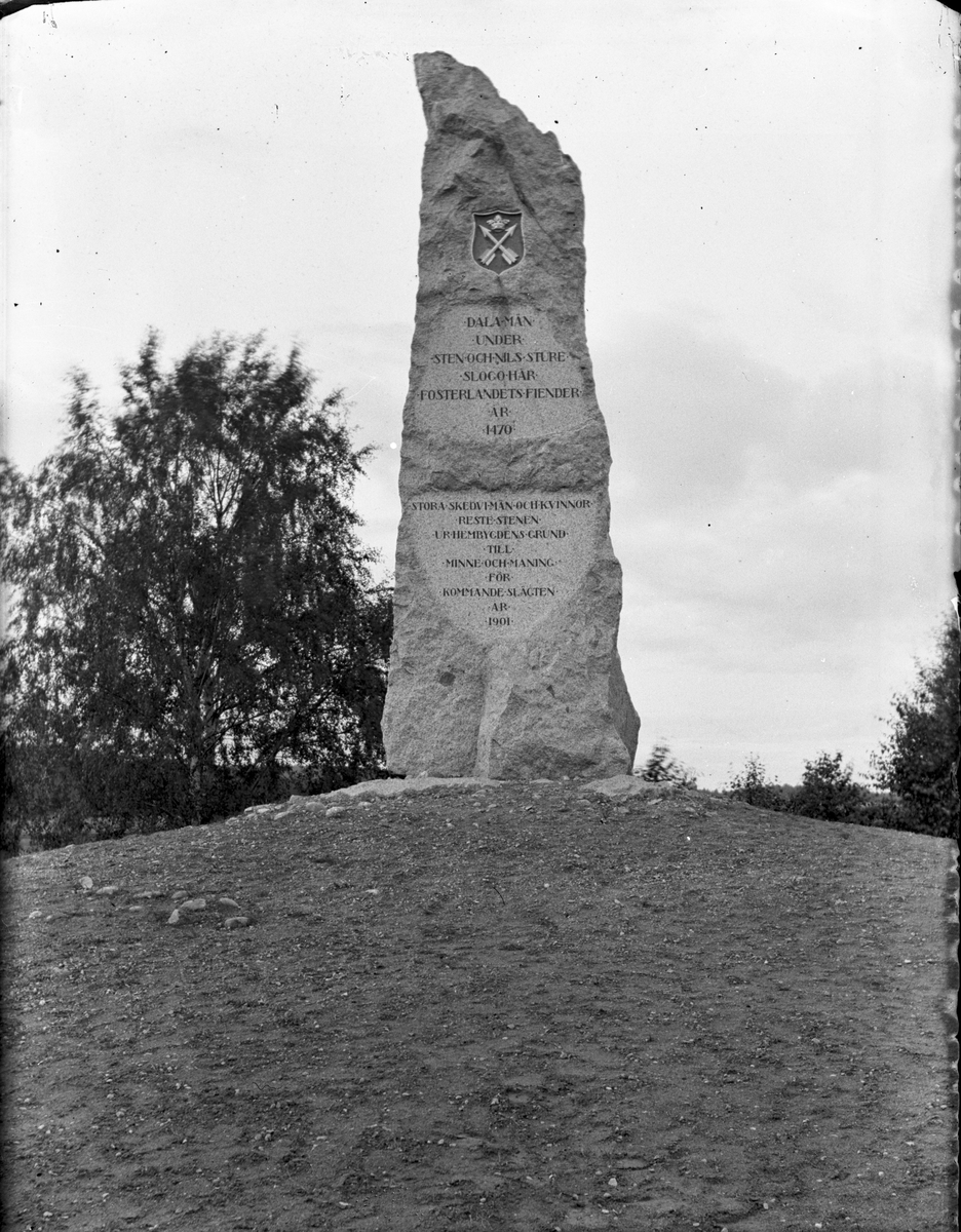 """Monment över """"Dalamän under Sten och Nils Sture slogo här fosterlandets fiender år 1470""""."""