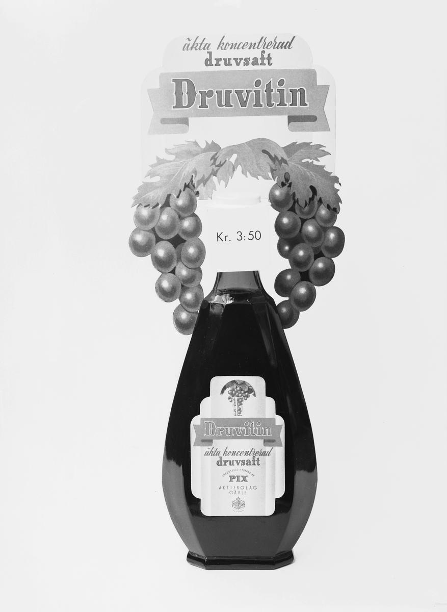 """Pix har sin grund i firman Ericsson & Rabenius som 1897 började göra karameller, konfektyrer, marmelad och saft under ledning av Wilhelm Ericsson på Söder. 1913 lärde Wilhelm Ericsson känna ordet pix, latinskt ord för tjära, som fick bli produktnamn för de halstabletter som fick just namnet Pix. Flyttade 1915 till Hantverkargatan, 1919 till Pix AB och Pixtabletten blev huvudprodukten. Den såldes även på export. """"DRUVITIN, druvsaft"""". Juni 1939."""