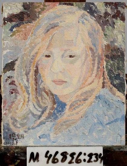 Oljemålning på duk.  Flicka i blått. Ung flicka i en blå dräkt. Flickan har långt ljust hår som faller ner på axlarna.