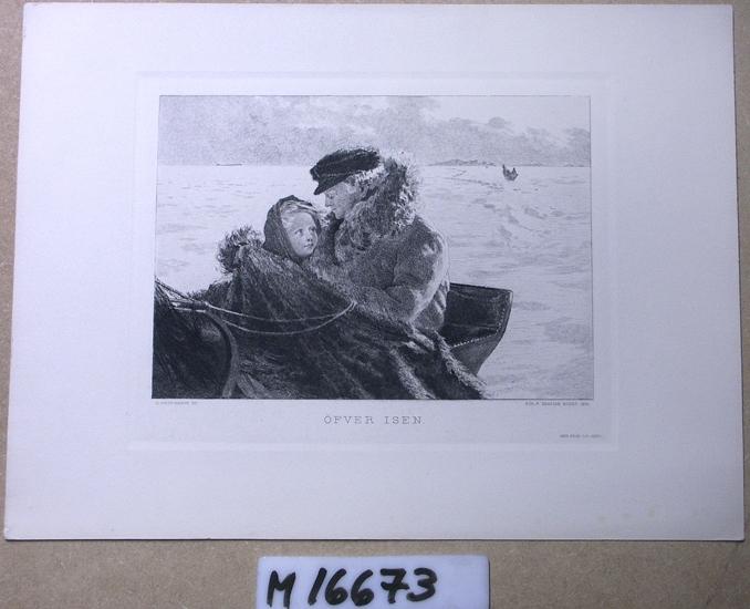Etsning (reproduktion).  Över isen, slädfärd med far och dotter.
