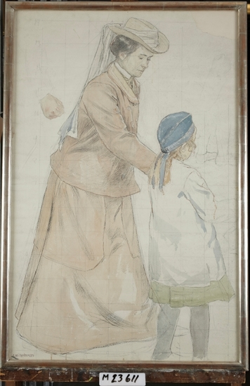Akvarellmålning. Skeppsbron 1907. Mor med dotter.  Skiss till utsmyckning av dåv. Centralposthuset vid Vasagatan i Stockholm.