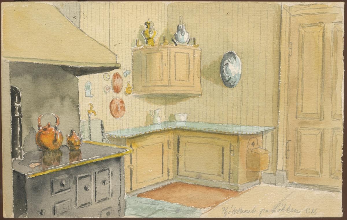 Kjøkken, Løkken (akvarell)