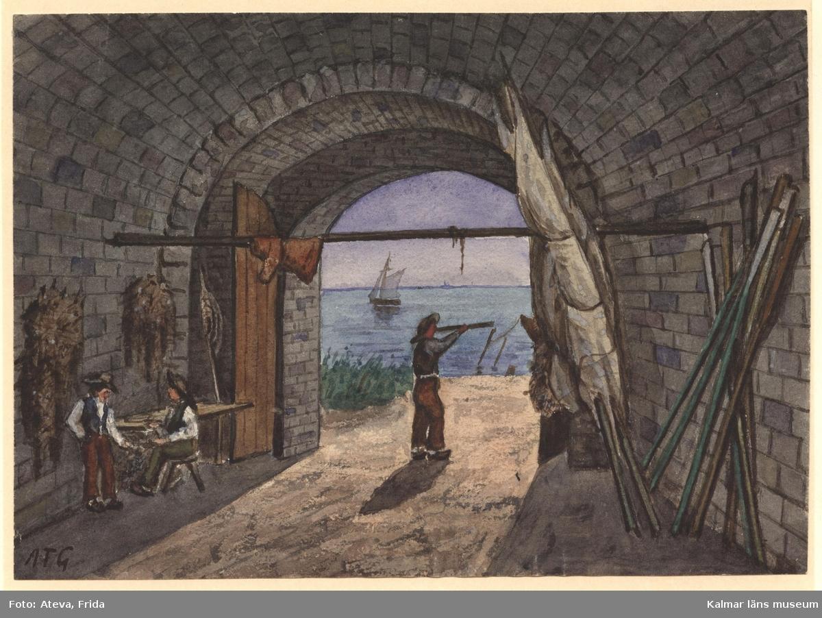 Sjöporten på Kalmar slott, sedd inifrån. I valvet fiskare, varav 2 vid en bänk, de lagar nät. Den tredje fiskaren står mitt i öppningen, med kikare för ögonen. I valvet segel och åror, på väggen nät, på tvärstången en upphängd oljerock. I bakgrunden sundet med segelbåt.