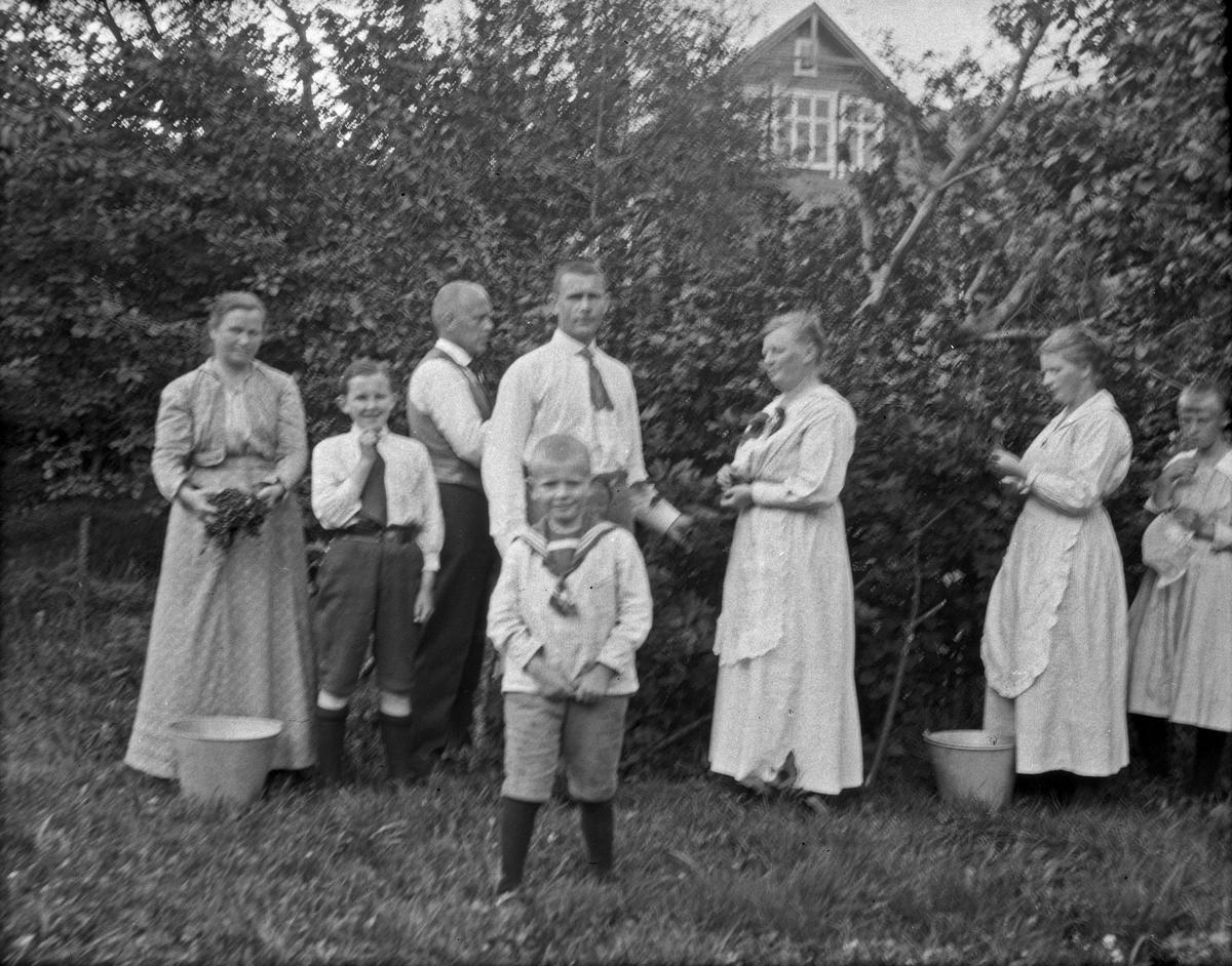 Gruppebilde. 3 kvinner, 2 gutter, en pike og 2 menn henter frukt og bær i hagen. Busker, trær og bolig i bakgrunnen.