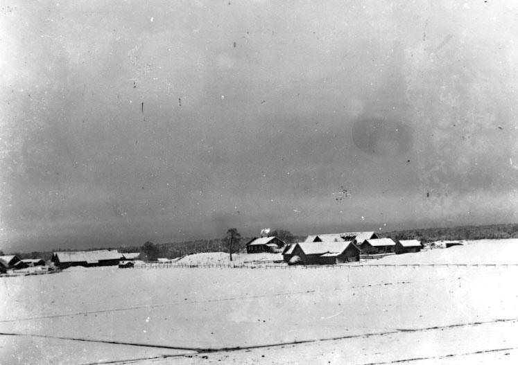 Gillstad sn. Vinterbild från Gillstad kyrkby.