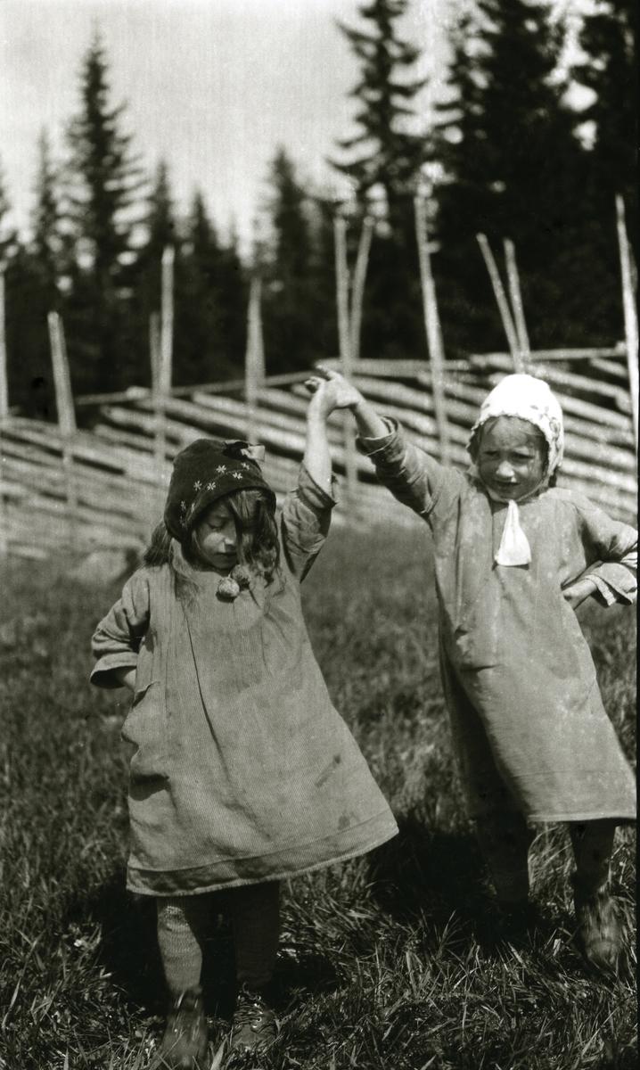 To dansende jenter i Galåsen (gjerde og skog i bakgrunnen).  Fra venstre: Ingebjørg Buflod f. Galaasen (1915 - 1999), Målfrid Hauge f. Galaasen (1914)