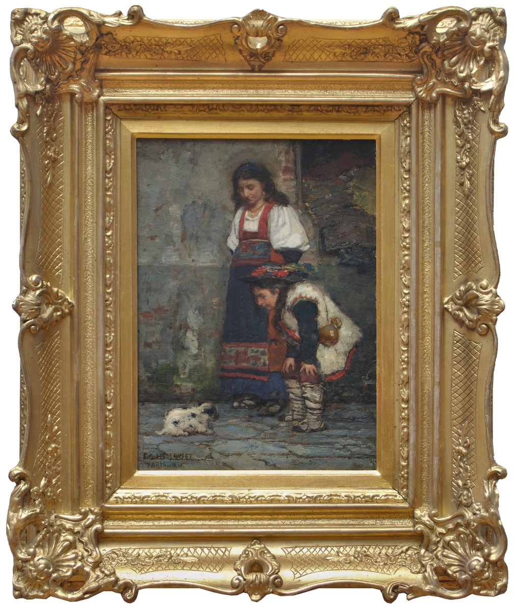"""Oljemålning, """"Gatumotiv från Paris 1875"""" av Carl Gustaf Hellqvist."""
